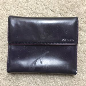 Prada Trifold Wallet Dark Purple Leather